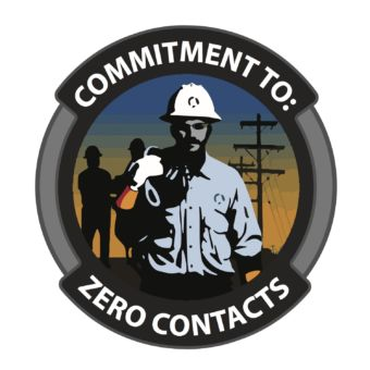 Commitment to: Zero Contacts logo, electrical safety initiative