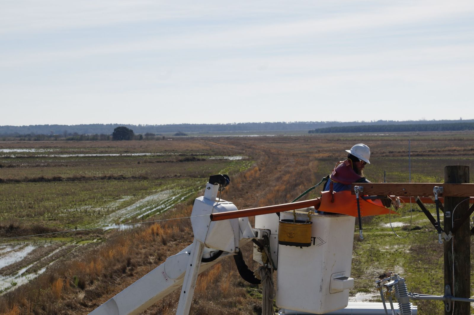 A lineman in a bucket working on power lines with Louisiana landscape in the background